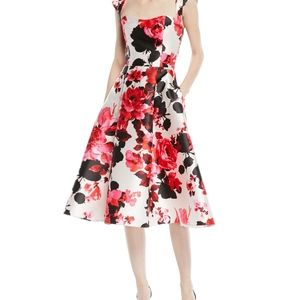 David Meister Pink Roses Fit Flare Dress 6